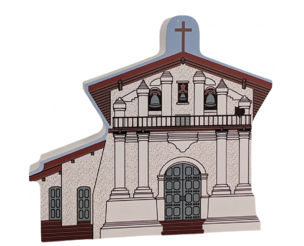 "Mission Dolores San Francisco, California. Handcrafted in the USA 3/4"" thick wood by Cat's Meow Village."