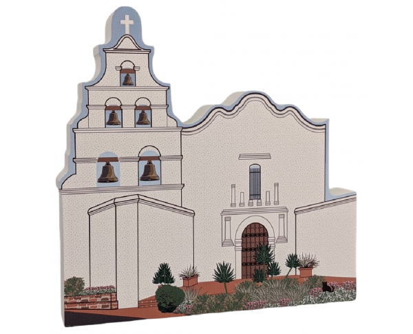 "Mission San Diego De Alcala, California. Handcrafted in the USA 3/4"" thick wood by Cat's Meow Village."