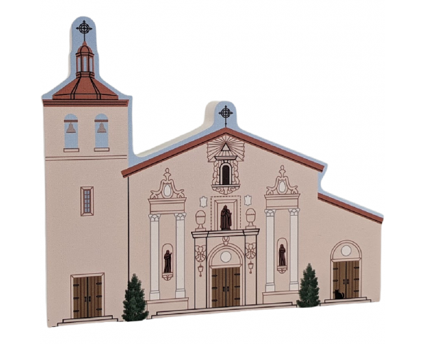 """Santa Clara De Asis Mission, Santa Clara, California. Handcrafted in the USA 3/4"""" thick wood by Cat's Meow Village."""