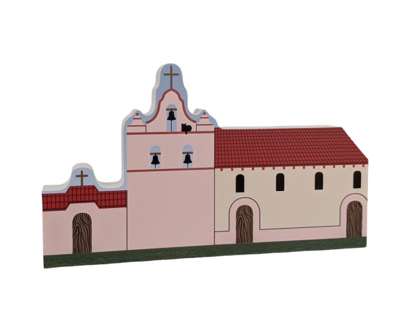 """Mission La Purisma, Lompoc, CA. Handcrafted in the USA 3/4"""" thick wood by Cat's Meow Village."""