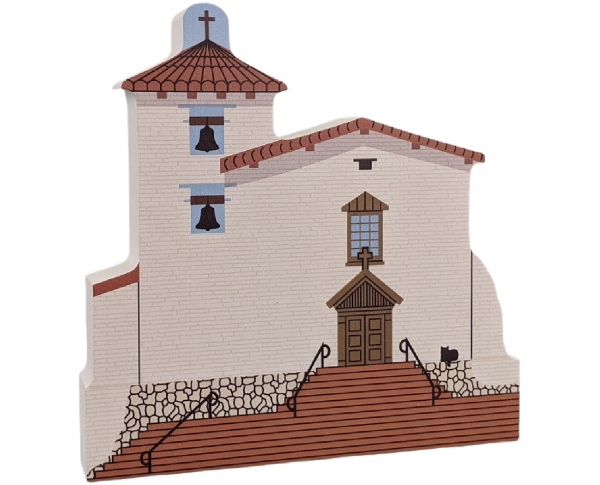 "Mission San Jose, Fremont, California. Handcrafted in the USA 3/4"" thick wood by Cat's Meow Village."