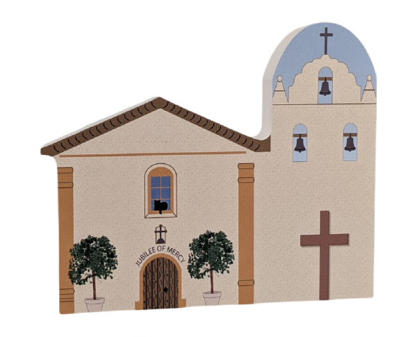 "Mission Santa Ines, Solvang, CA. Handcrafted in the USA 3/4"" thick wood by Cat's Meow Village."