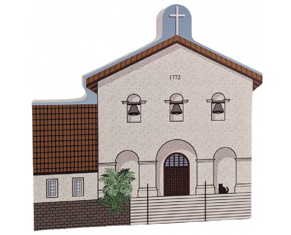 """Mission San Luis Obispo, San Luis Obispo, California. Handcrafted in the USA 3/4"""" thick wood by Cat's Meow Village."""