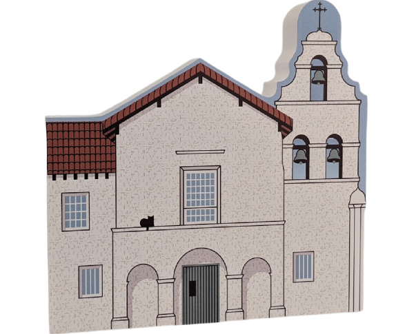 """Mission San Juan Bautista, California. Handcrafted in the USA 3/4"""" thick wood by Cat's Meow Village."""