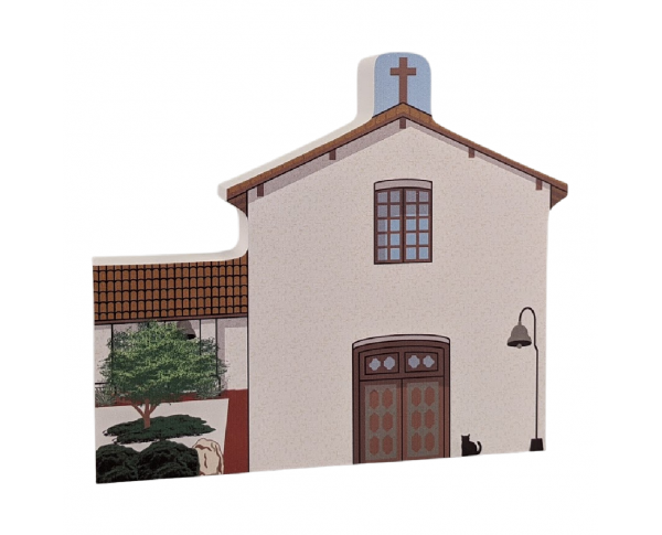 "Mission San Miguel Arcangel, California. Handcrafted in the USA 3/4"" thick wood by Cat's Meow Village."