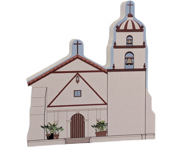 "Mission San Buenaventura, Ventura, CA. Handcrafted in the USA 3/4"" thick wood by Cat's Meow Village."