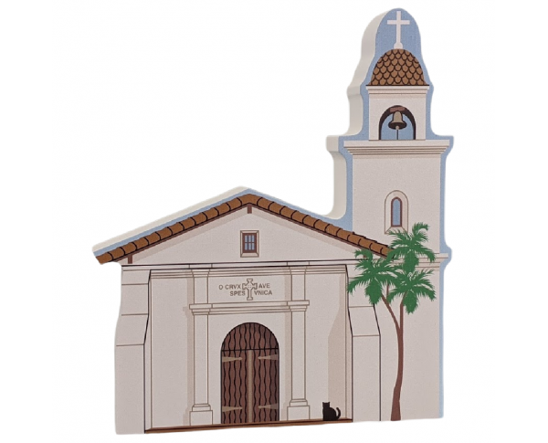 "Mission Santa Cruz, California. Handcrafted in the USA 3/4"" thick wood by Cat's Meow Village."