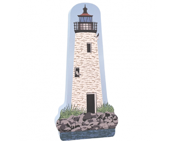 "Colorful and detailed replica of New Point Comfort Lighthouse, Port Haywood, Virginia. Handcrafted in the USA 3/4"" thick wood by Cat's Meow Village."
