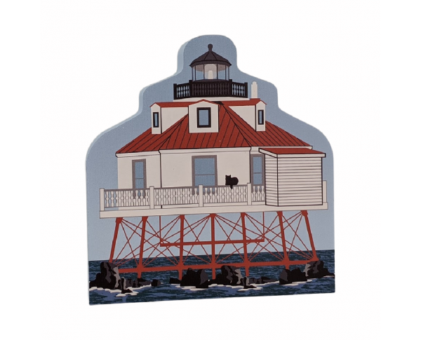 "Thomas Point Lighthouse, Annapolis, Maryland. Handcrafted in the USA 3/4"" thick wood by Cat's Meow Village."