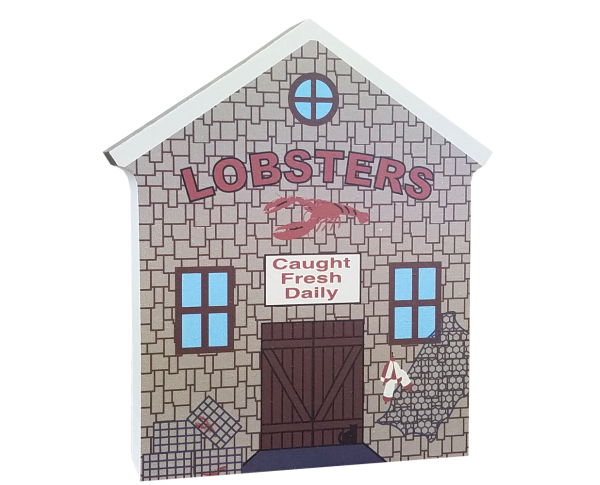 "Lobster Shanty, typical of New England fishing towns, handcrafted in 3/4"" thick wood by The Cat's Meow Village in the USA."
