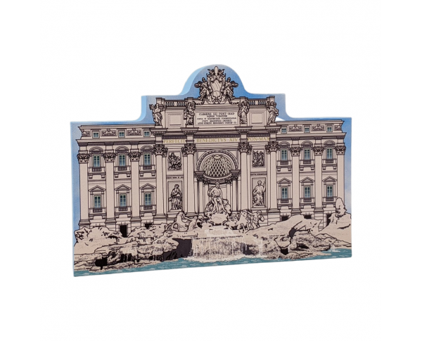 Handcrafted wooden shelf sitter of the Trevi Fountain created by The Cat's Meow Village