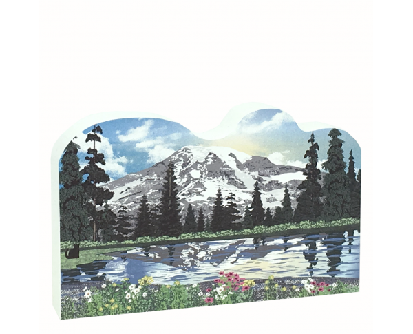 Wooden replica of Mt. Rainier in Washington state, handcrafted in the US by The Cat's Meow Village