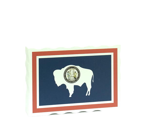Slightly larger than a deck of cards, this wooden postcard version of the Wyoming flag can fit into any nook around your home or workplace showing off your state pride! Handcrafted in the USA by The Cat's Meow Village.