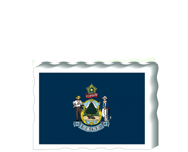 Slightly larger than a deck of cards, this wooden postcard version of the Maine flag can fit into any nook around your home or workplace showing off your state pride! Handcrafted in the USA by The Cat's Meow Village.