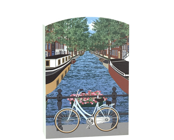 Add this scene of an Amsterdam canal to your home decor to remind you of your trip to the Netherlands. Handcrafted in the USA by The Cat's Meow Village.