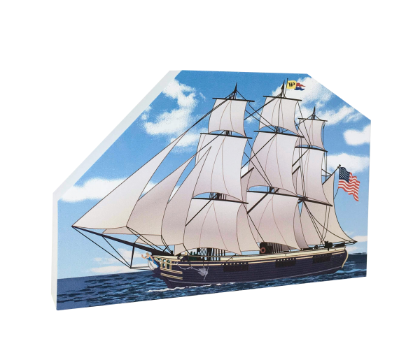 "Replica of the cargo vessel, Friendship of Salem, located in the Salem Maritime National Historic Site. Handcrafted in 3/4"" thick wood by The Cat's Meow Village in the USA."
