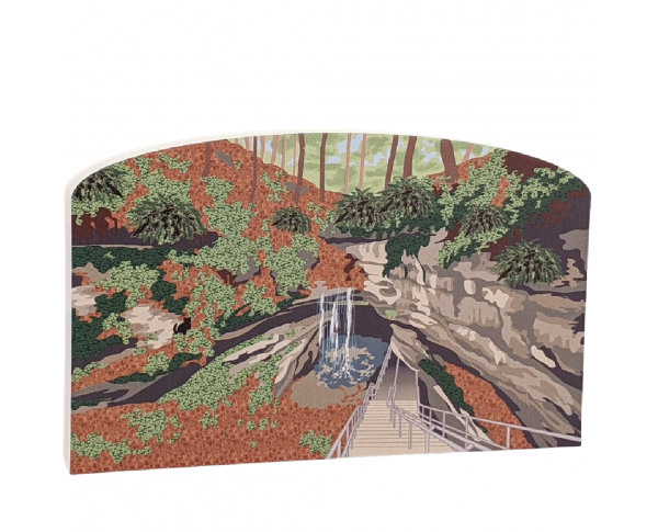 "Colorful detailed scene of Mammoth Cave National Park, Kentucky.  Handcrafted in 3/4"" thick wood by The Cat's Meow Village in the USA."