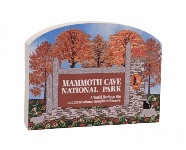 "Entrance sign to Mammoth Cave, Mammoth Cave Nat'l Park, Kentucky.  Handcrafted in 3/4"" thick wood by The Cat's Meow Village in the USA."