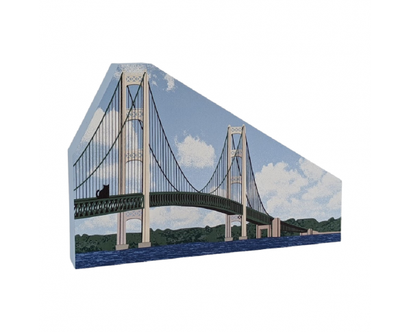 "Mackinac Bridge, St Ignace, Michigan. Handcrafted in the USA 3/4"" thick wood by Cat's Meow Village."