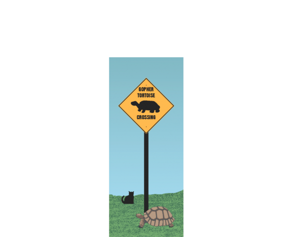 "Gopher Tortoise Crossing Sign, Florida. Handcrafted of 3/4"" thick wood by The Cat's Meow Village in the USA."