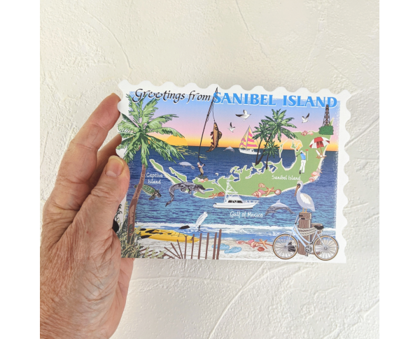 """Beautifully colored and detailed map of Sanibel & Captiva Islands, Florida, , handcrafted in the USA 3/4"""" thick wood by Cat's Meow Village."""