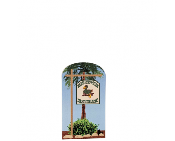 "Colorful replica of The Mucky Duck Sign, Captiva Island, Florida. Handcrafted in the USA 3/4"" thick wood by Cat's Meow Village."