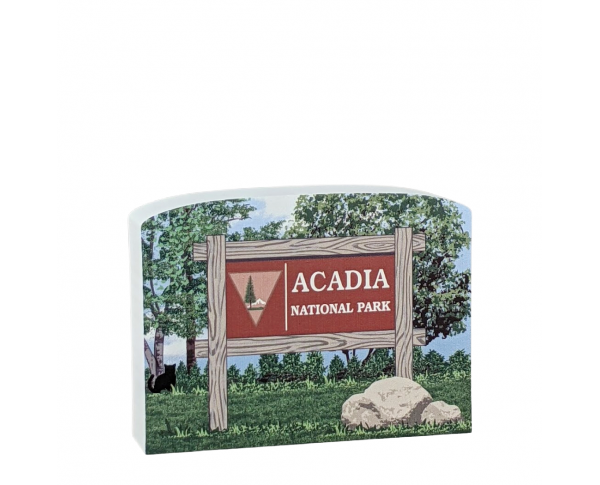 "Acadia National Park Sign, Maine. Handcrafted in the USA 3/4"" thick wood by Cat's Meow Village"