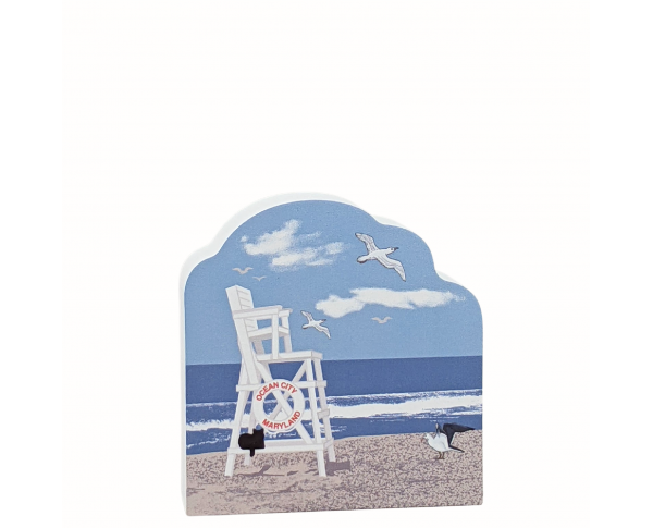 """Life Guard Chair, Ocean City, Maryland. Add this cute little accessory to your other Ocean City pieces! Handcrafted in the USA 3/4"""" thick wood by Cat's Meow Village."""