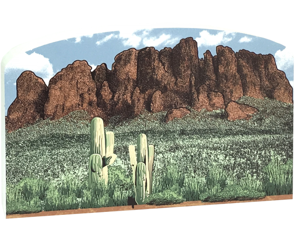 "Superstition Mountains scene handcrafted in 3/4"" thick wood for your home decor, handcrafted by The Cat's Meow Village in the USA."