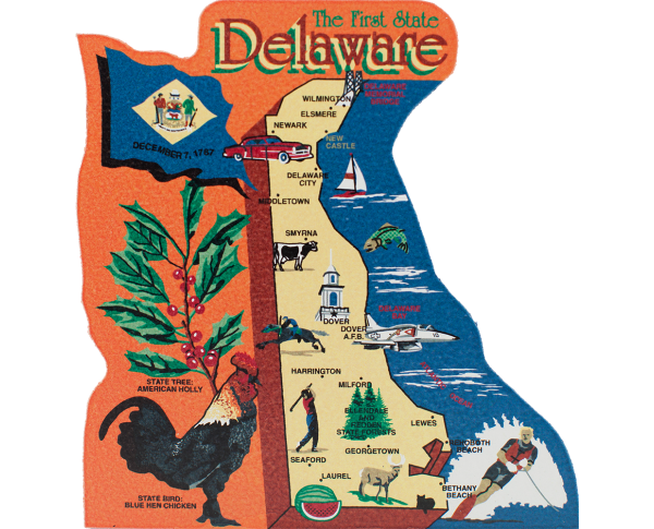 Show your state pride with a state map of Delaware handcrafted in wood by The Cat's Meow Village