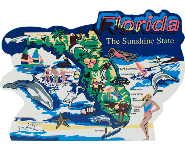 Show your state pride with a state map of Florida handcrafted in wood by The Cat's Meow Village