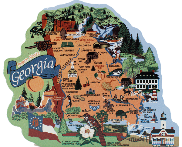 Display your state pride with a state map of Georgia handcrafted in wood by The Cat's Meow Village