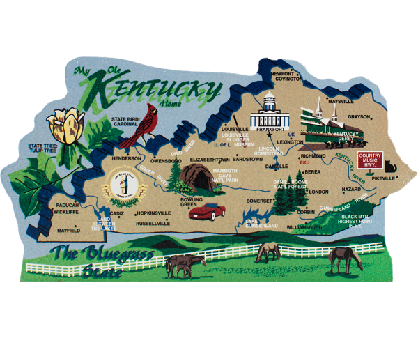 Add this wooden state map of Kentucky to your home decor, handcrafted in the USA by The Cat's Meow Village