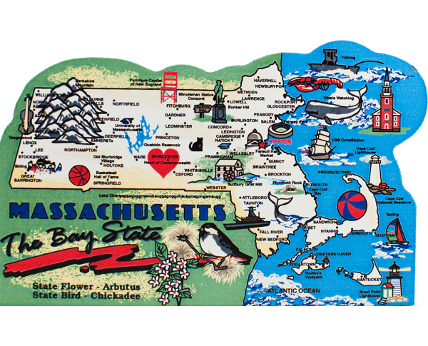 Display your state pride with a state map of Massachusetts handcrafted in wood by The Cat's Meow Village