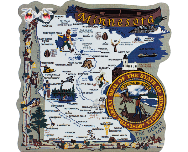 Add this wooden state map of Minnesota to your home decor, handcrafted in the USA by The Cat's Meow Village
