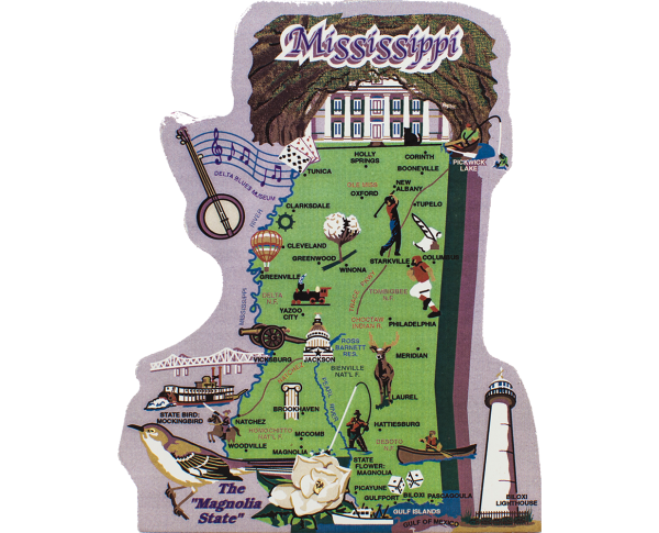 Display your state pride with a state map of Mississippi handcrafted in wood by The Cat's Meow Village