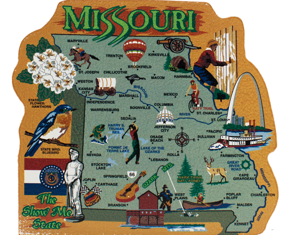 Show your state pride with a state map of Missouri handcrafted in wood by The Cat's Meow Village