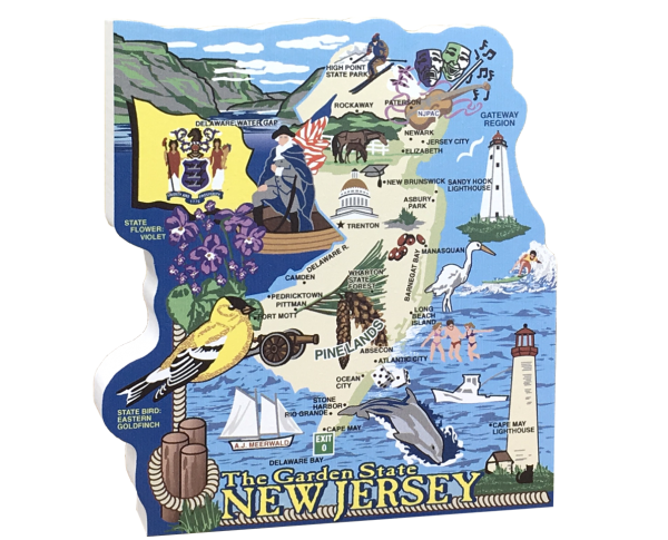 Add this wooden state map of New Jersey to your home decor, handcrafted in the USA by The Cat's Meow Village