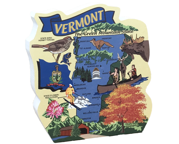 Display your state pride with a state map of Vermont handcrafted in wood by The Cat's Meow Village