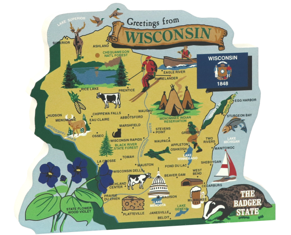 Display your state pride with a state map of Wisconsin handcrafted in wood by The Cat's Meow Village