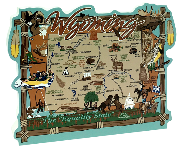 "Add this 3/4"" thick wooden state map of Wyoming to your home decor, handcrafted in the USA by The Cat's Meow Village"