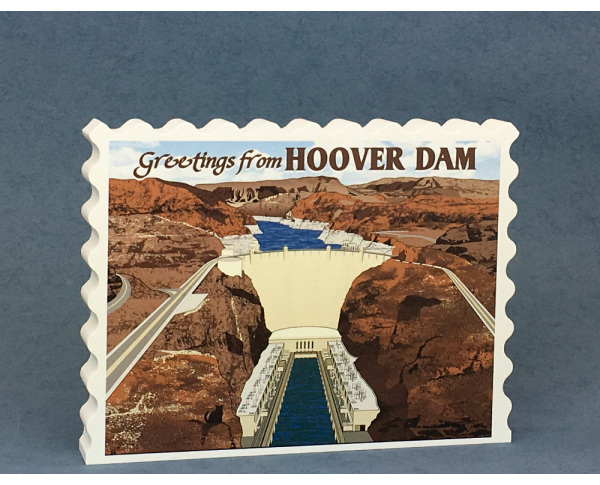 Wooden vintage postcard style replica of the Hoover Dam on the Colorado River. Remember your trip with our handcrafted in the USA replica.