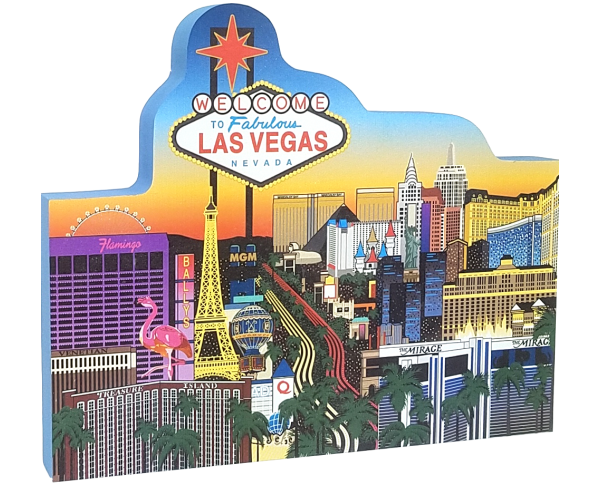 "Get your paws on this replica of the Las Vegas Strip! Handcrafted of 3/4"" thick wood by The Cat's Meow Village. Made in the USA."