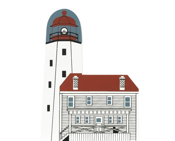 "Vintage Sandy Hook Lighthouse from Lighthouse Series handcrafted from 3/4"" thick wood by The Cat's Meow Village in the USA"