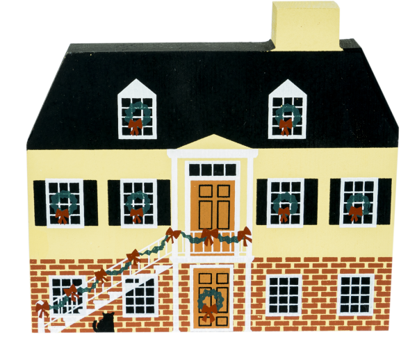 "Vintage Simon Mirault Cottage from Savannah Christmas Series handcrafted from 3/4"" thick wood by The Cat's Meow Village in the USA"