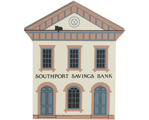"Vintage Southport Bank from Series V handcrafted from 3/4"" thick wood by The Cat's Meow Village in the USA"