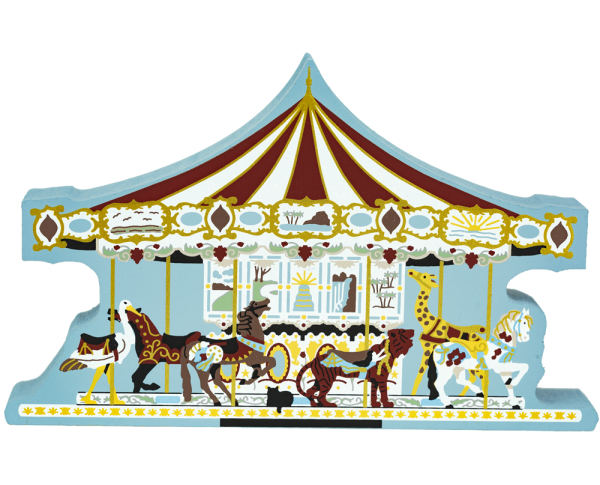 Handcrafted wooden shelf sitter of the Herschel Spellman Carousel by The Cat's Meow Village.