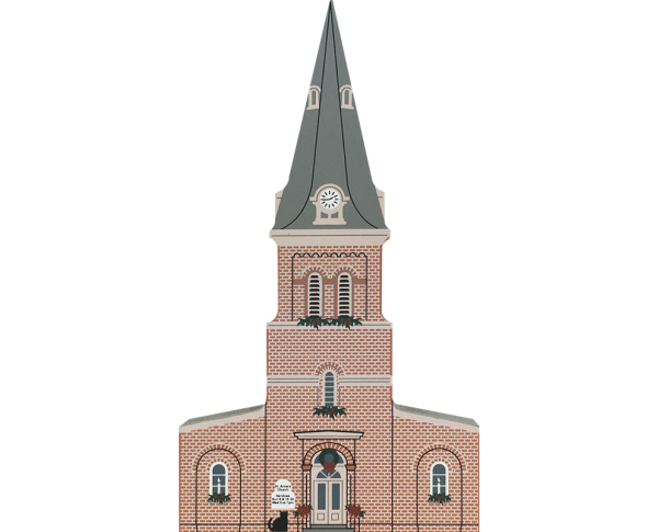 "Vintage St. Anne's Church from Annapolis Christmas Series handcrafted from 3/4"" thick wood by The Cat's Meow Village in the USA"