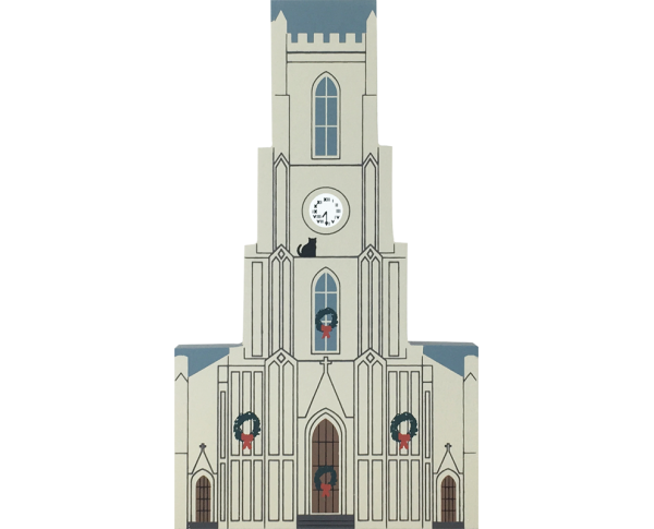 "Vintage St. Patrick's Church from New Orleans Christmas Series handcrafted from 3/4"" thick wood by The Cat's Meow Village in the USA"