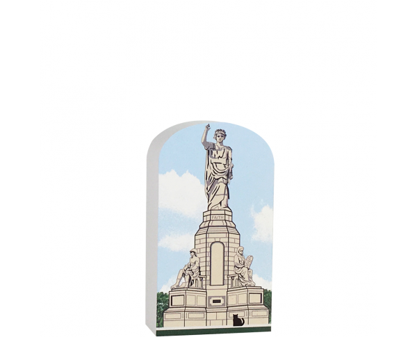 """Forefathers Monument, Plymouth, MA commemorating the Mayflower Pilgrims and their ideals. Handcrafted of 3/4"""" thick wood by The Cat's Meow Village in the USA."""